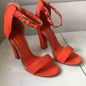 club ami Shoes - Orange ankle strap heels